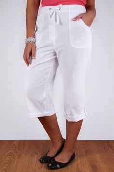 ebcd441a27a70 White Cool Cotton Roll-Up Crop Trousers Cotton Pants