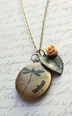 Picture Locket Necklace Rose Charm Verdigris