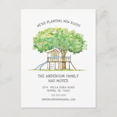 Shop New Roots Treehouse Moving Announcement Post Card created by invitationstop. New House Announcement, Announcement Cards, Change Of Address Cards, Snapchat Template, New Roots, Moving Announcements, Brochure Design Inspiration, Graphic Design Studios, Cute Family