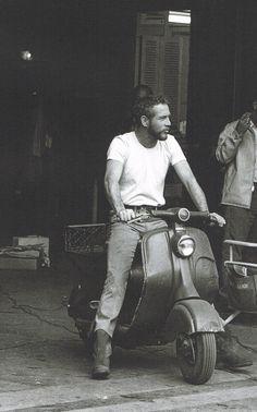 Paul Newman on a Lambretta LD.