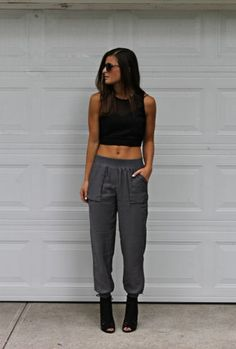 black crop top and sweat pants