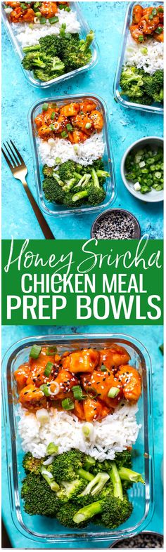 These Honey Sriracha Chicken Meal Prep Bowls with broccoli and jasmine rice are a delicious lunch idea that can be prepped ahead on one pan – and the sauce comes together so easily with only 3 ingredients!