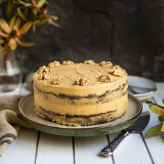 Choc Coffee Cake with Walnuts Coffee Icing, Coffee Cake, Butter Icing, Tea Cakes, Box Cake, Cake Pans, Let Them Eat Cake, No Bake Cake, Food To Make