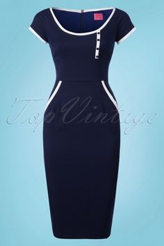 Glamour Bunny Dita Pencil Dress in Navy 23857 20180108 Classy Work Outfits, Chic Outfits, Chic Dress, Classy Dress, Pencil Dress Outfit, African Print Fashion, Karen Millen, Work Attire, African Dress