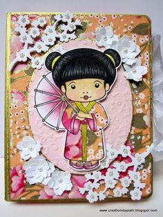 handmade card  from Creations by Patti ... white die cut and punched flower blossoms ... cute Marci in kimono image ... gold leafing pen on edges and hightlights on imange ... sweet card ... La-La Land