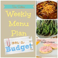 Six Sisters' Weekly Menu Plan on a Budget