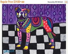 60% Off Today- Alapaha Blue Blood Bulldog Dog art dog Poster Print of painting by Heather Galler (HG115)
