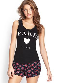 Lace-Trimmed Paris Tank | FOREVER21 #SummerForever #GraphicTee