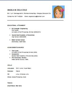 Sample Resume Format For Fresh Graduates One Page Format  Aditya