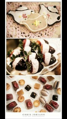Tea pot cookies and chocolate dipped stawberries
