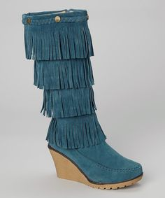 Another great find on #zulily! Turquoise Fringe Wedge Boot by Shoes of Soul #zulilyfinds
