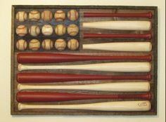 American flag out of baseball bats