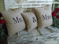 Mr & Mrs set of three pillows by SimplyFrenchMarket on Etsy, $64.00 for the newlyweds.