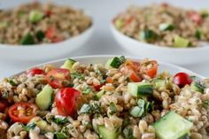 Summer Farro Salad with Tomatoes, Cucumbers & Basil