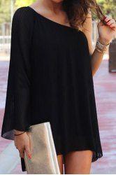 cff4f4c1f61 Sexy One Shoulder Long Sleeve Black Chiffon Women s Mini Dress Krátké Šaty