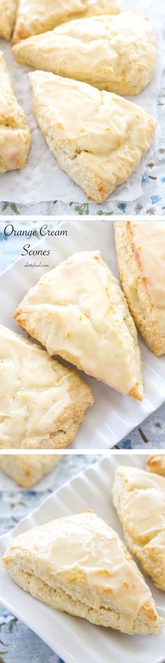 These flaky orange cream scones are packed with fresh orange flavor, and are topped with a sweet homemade orange glaze! This homemade scone recipe is so simple and is one of the best brunch recipes! (Baking Cookies With Friends) Brunch Recipes, Breakfast Recipes, Dessert Recipes, Cocktail Recipes, Just Desserts, Delicious Desserts, Yummy Food, Biscotti, Breakfast Scones