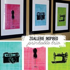 Vintage Camera, Dress Form and Sewing Machine Printables
