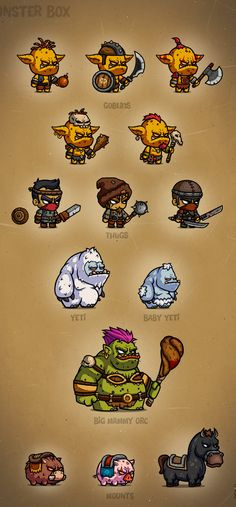 MONSTER Characters 2 game user interface gui ui | Create your own roleplaying game material w/ RPG Bard: www.rpgbard.com | Writing inspiration for Dungeons and Dragons DND D&D Pathfinder PFRPG Warhammer 40k Star Wars Shadowrun Call of Cthulhu Lord of the Rings LoTR + d20 fantasy science fiction scifi horror design | Not Trusty Sword art: click artwork for source