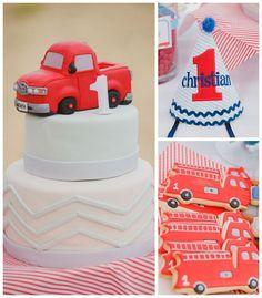 Classic Red Firetruck 1st birthday party via Kara's Party Ideas KarasPartyIdeas.com Decor, cake, printables, favors, invitation, desserts, and more! #firetruckparty #redfiretruck #firstbirthday #karaspartyideas (2)