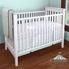 Crib bedding in White Minky Chenille, Mint Lattice Circles, Solid Mint, Silver Gray Stars. Created using the Nursery Designer® by Carousel Designs where you mix and match from hundreds of fabrics to create your own unique baby bedding. #carouseldesigns