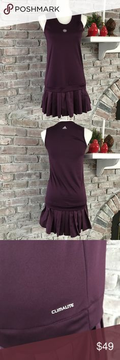 Adidas tennis dress size Med or small From Roland garros tennis match. Size has been taken out so according to men it is a small or medium. I include measurements in photos. Soft spandex material. Skirt is a blend of polyester silky material. Material tag not on garment. Really cute tennis dress adidas Other