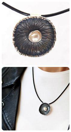 Black Silver Necklace      Botanic Garden Collection     925 silver, natural pearl    