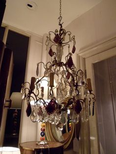 French amethyst and crystal glass 6 light chandelier.