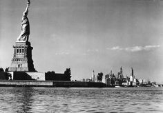 The Statue of Liberty and the New York skyline, 1939.