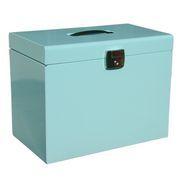 A4 Metal File Box, Ice Blue