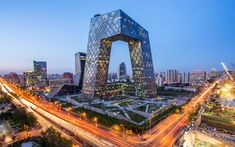 Download wallpapers CCTV Building, Beijing, 4k, modern architecture, skyscrapers, unusual buildings, China, evening, city lights