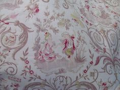 """Vintage French Fabric wtih Country Cupids Frolicking, dancing, playing 20"""" X 31"""""""