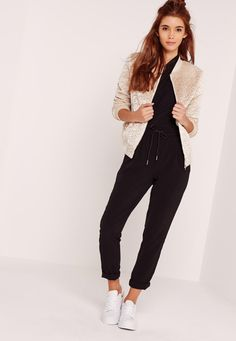 Missguided - Faux Wool Bomber Jacket Cream