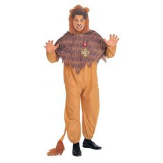 The Wizard of Oz Cowardly Lion Costume - Adult, Men's, Yellow