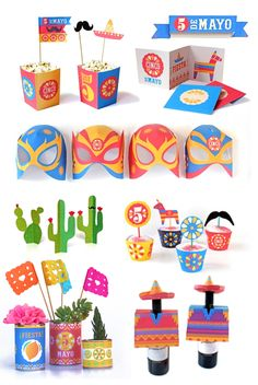 Cinco de Mayo party patterns, cutouts and templates! https://happythought.co.uk/product/cinco-de-mayo-printables