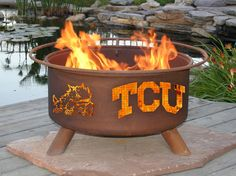 The TCU Horned Frogs Fire Pit with Grill by Patina Products - Texas Christian University