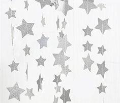 Fecedy Sparkling Star Garland Bunting for Baby shower,Wedding Party 13 feet (Silver)