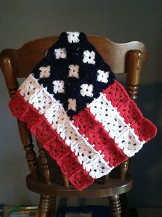 Small Crochet American Flag by KristenW108 on Etsy, $10.00
