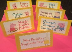 ****Please leave your event date as a note in your order. All orders will be shipped out in time for event date. If you need your item within 2 weeks please message first before purchasing.****  This listing is for Peppa Pig food labels! You have the option of customizing the labels or purchasing the labels in the pictures. Unless otherwise noted characters and colors will be at sellers creativity :)! The main photo is the 7 listing cards others are examples :). **In the note to seller…