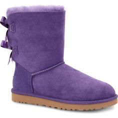 UGG Australia Women's Bailey Bow Bilberry Boots ($205) ❤ liked on Polyvore featuring shoes, boots, ankle boots, purple, bow boots, bow shoes, ugg australia, ugg® australia shoes and lightweight boots