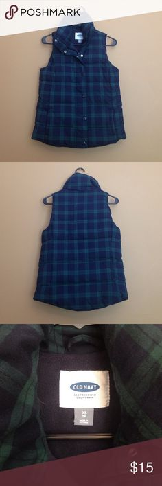 Old Navy blue and green plaid vest Navy blue and green vest with fleece lining is very comfortable and very warm. Perfect for fall and winter. Old Navy Jackets & Coats Vests