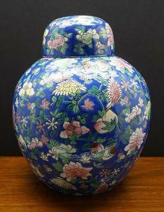 BEAUTIFUL POLYCHROME LARGE GINGER JAR 25cm x 25cm Painted Vases, Ginger Jars, House Colors, Edinburgh, Pencil Drawings, Vintage Antiques, Colour, People, Shop
