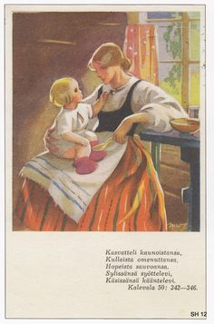 Martta Wendelin was a Finnish artist whose work was widely used to illustrate fairy tales and books, postcards, school books, magazine and book covers. Sara Kay, Children's Literature, Mother And Child, Vintage Pictures, Little People, Illustration Art, Vintage Illustrations, Vintage Postcards, Vintage Art