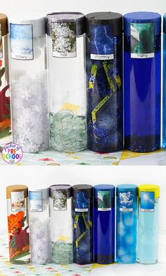 Weather Sensory Bottles Weather sensory bottles is af fun way to explore the weather inside and FREE weather photo labels. Weather Activities Preschool, Weather Science, Preschool Science, Sensory Activities, Learning Activities, Preschool Activities, Kids Learning, Sensory Bottles Preschool, Teaching Weather