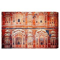 Canvas print with a temple architecture motif. Made in the USA.   Product: Wall artConstruction Material: Cotton...