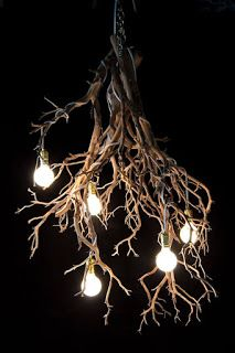 """Halloween Wood Tree Branch Chandelier These organic-form pendant lighting chandeliers are the perfect way to add a magical flair to your home living space. From sleek modernist lofts to the """"pinner"""": {""""username"""": """"kennykershaw"""",. Driftwood Chandelier, Chandelier Pendant Lights, Handmade Chandelier, Chandeliers, Tree Branch Decor, Tree Branches, Branches With Lights, Deco Luminaire, Wooden Tree"""