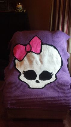 Monster High Crocheted Blanket, Krafty L Kreations on Facebook