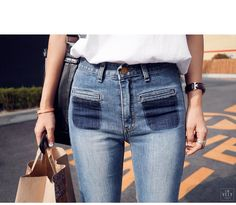 Dark Tinted Pocket Jeans | IMVELY: Shop Korean clothing, bags, shoes for women