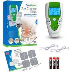 AccuRelief Dual Channel Tens Therapy Electrotherapy Pain Relief System, White