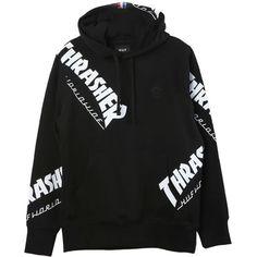 HUF Thrasher TDS Hoodie ($85) ❤ liked on Polyvore featuring tops, hoodies, hoodie top, sweatshirt hoodies, hooded sweatshirt, huf hoodie and huf