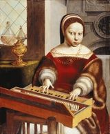 15th Century Timeline - Young girl at a spinet, attributed to Jan van Hemessen